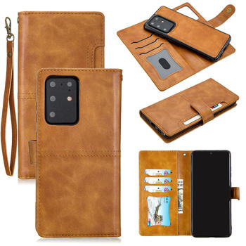 Detachable case For Samsung Galaxy S20+ S20 Ultra note 10 plus 5g Wallet Flip Leather Removable Magnetic Case Cover With Lanyard