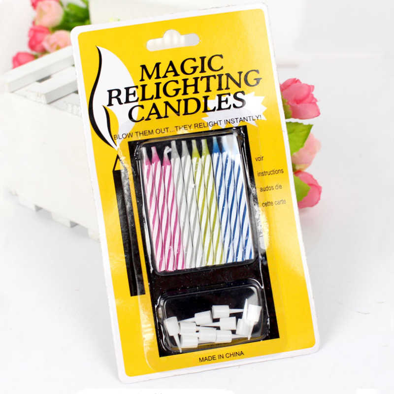 10pcs/pack Birthday Cake Candles For Birthday Party Supplies Safe Flames Decoration Colorful Flame Relighting Candle