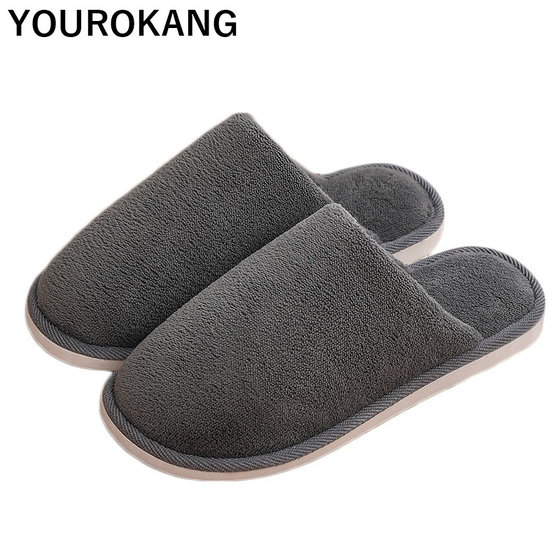 Men Slippers Winter Warm Indoor Home Slippers Soft Plush Bedroom Floor Couple Shoes Male Flip Flops High Quality Cotton Footwear