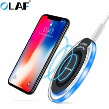 Olaf qi Wireless Charger for iPhone X XR XS Max 8 USB wireless Charging for Samsung Xiaomi Huawei phone Qi charger wireless pad cheap wireless charger for Samsung xiaomi No Support Desktop A C Source 5V 2A ROHS Wireless Charger Receiver For Andriod Micro USB