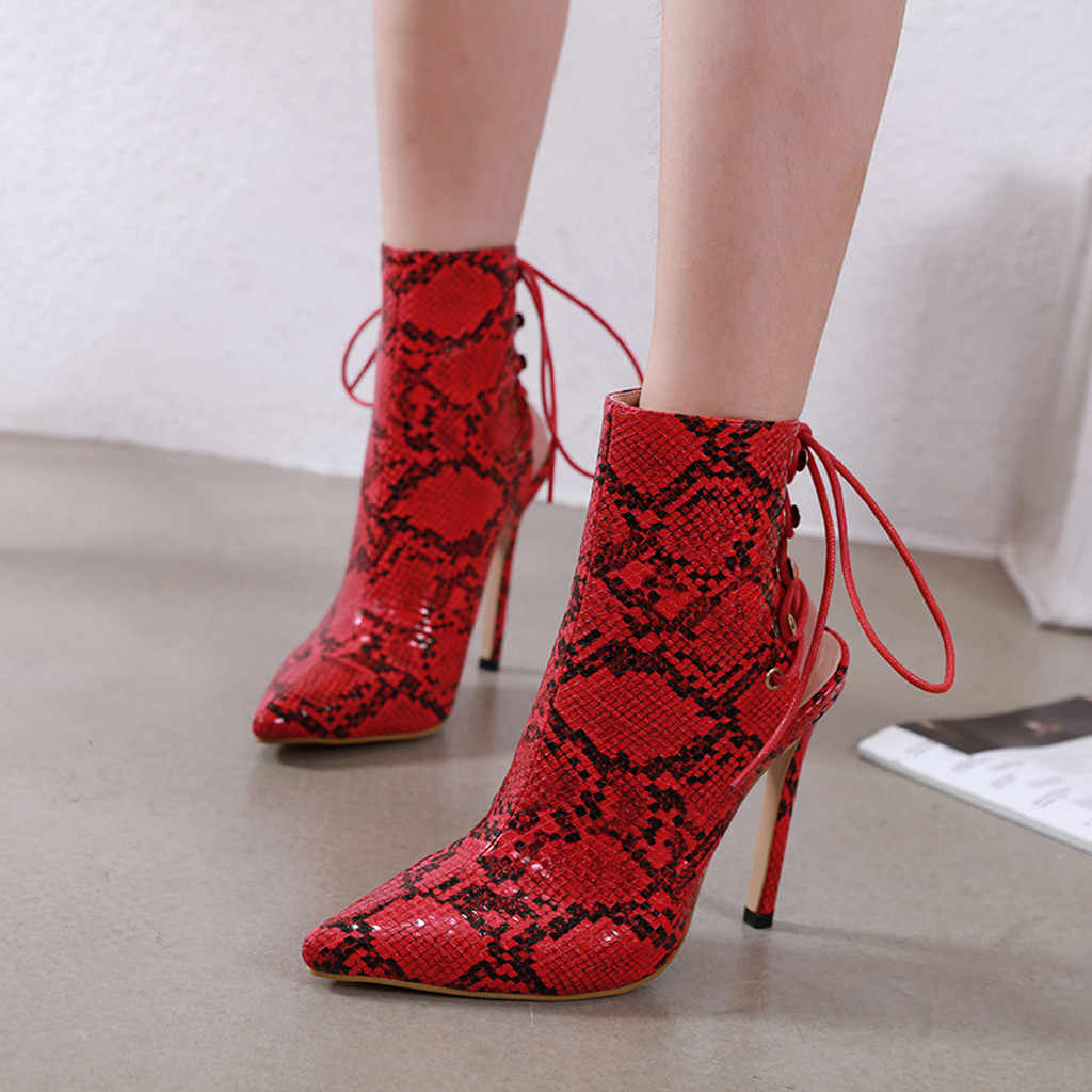 à lacets talon femmes femmes haut arrière hiver imprimer pointu Stiletto chaussures de chaussons serpent botas pompes bout Peau bottes chaussures OPiXZTku