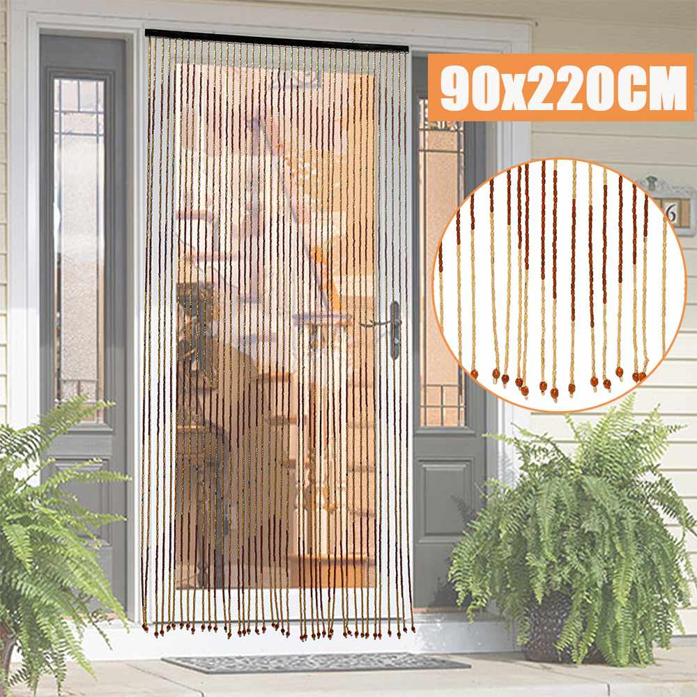 90x220cm high quality wooden door curtain blinds handmade fly screen wooden beads room divider 31 line non toxic no smell