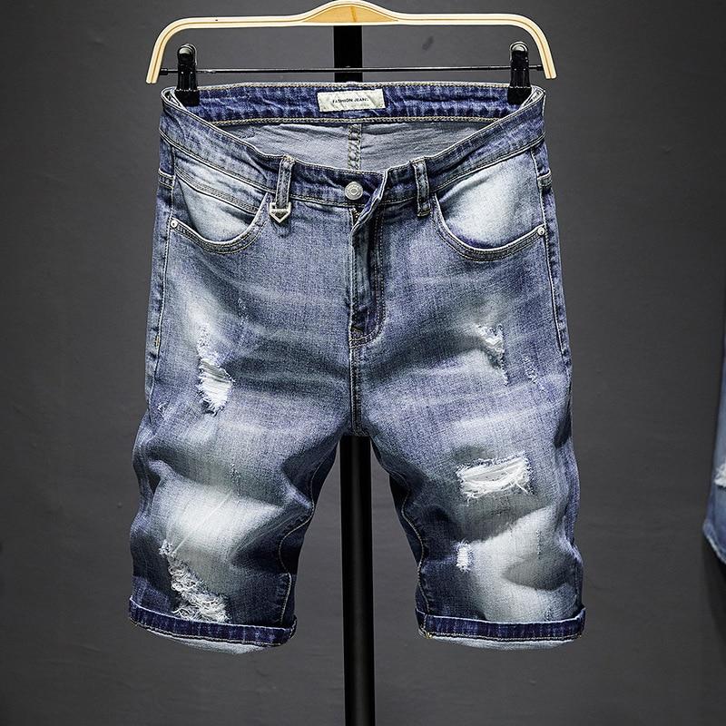 Summer New Style Men With Holes Denim Shorts Men's Occident Fashion Shorts MEN'S Short Pants Short Jeans Men's