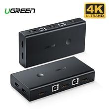 Ugreen HDMI KVM переключатель 2 Порты и разъёмы 4K переключатель USB KVM коммутатор VGA PLC сплиттер для совместного использования принтера клавиатура Мышь KVM переключатель HDMI CGA