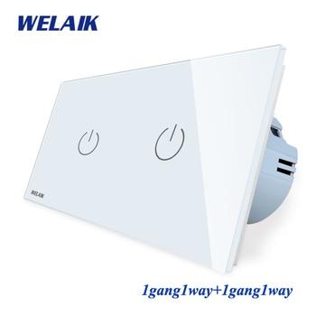 WELAIK Brand 2Frame-Crystal Glass-Panel  EU Wall-Switch EU Touch-Switch Screen-Light Switch-1gang1way AC110~250V A291111CW/B
