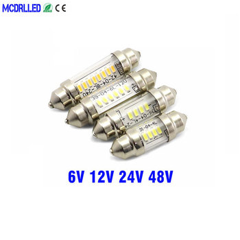 цена на Mcdrlled 6v 12v 24v C5w Led C10w Bulb Festoon Led Car Interior Dome Lamp License Plate Reading Light 31mm 36mm 39mm 41mm