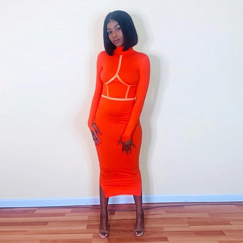 Hugcitar 2019 Cotton Long Sleeve High Neck Long Dress Autumn Winter Women Party Elegant Slim Outfits Streetwear