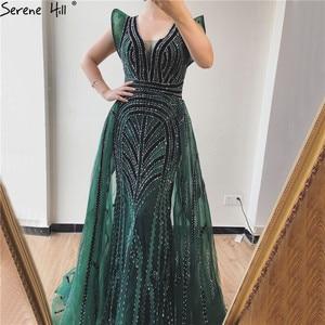 Image 3 - Dubai Deep V Sexy Prom Dresses 2019 Sleeveless Crystal Luxury Mermaid Prom Gowns Design Serene Hill DLA70198