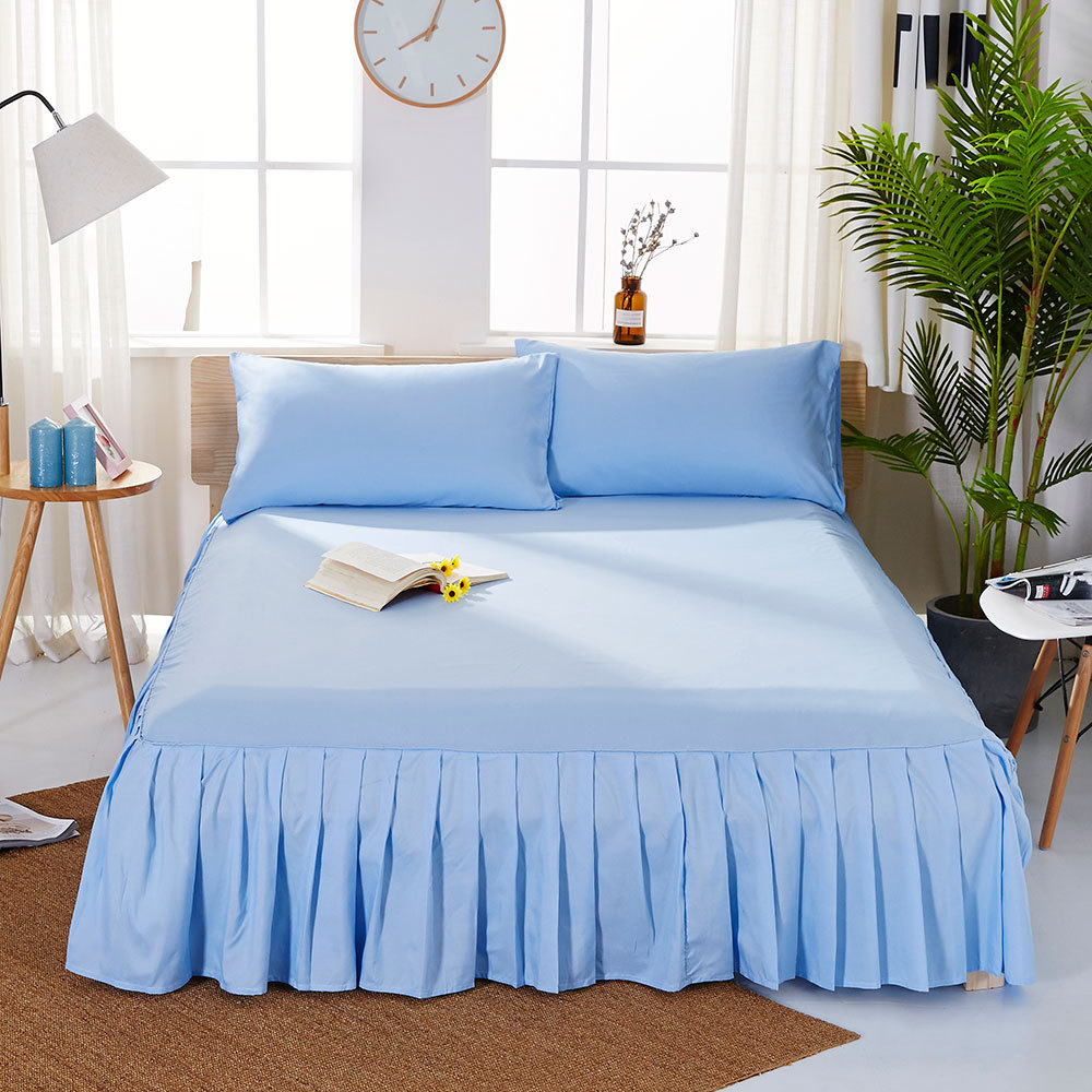 1pc Sanding Bedspread Solid Color Fitted Sheet Cover Soft Non-Slip King Queen Bed Skirt Protector Bed Mat Cover 1.2m/1.5m/1.8m 12