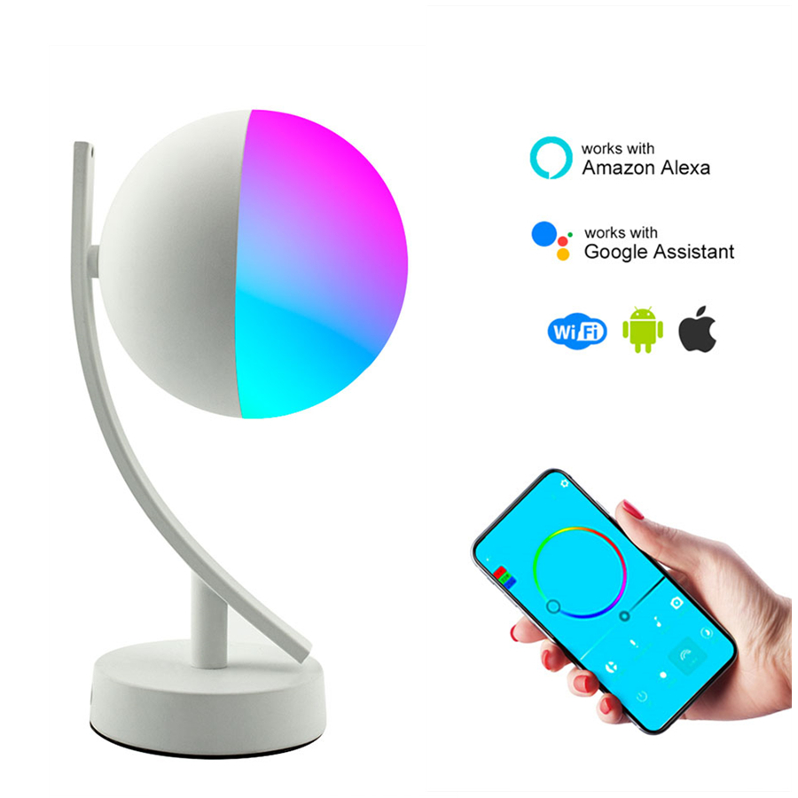 7W Led Smart Voice Control Night Light RGB Wifi APP Remote Dimmable Table Light For Google Home Amazon Alex Smart Desk Lamp