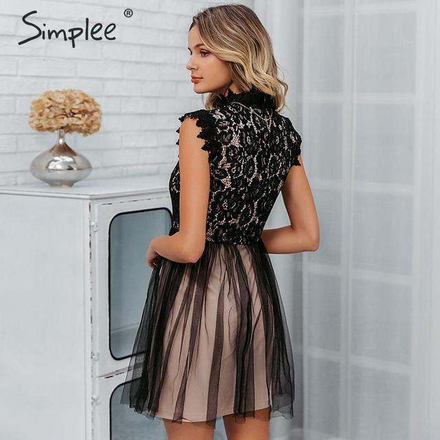 Simplee Women sleeveless lace dress Sexy embroidery floral black short party dress Ladies spring chic night club summer dress 4