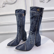 High Heeled Jean Boots Women's Mid-Calf Boots Spring Autumn Denim Boot Female Jeans Boots Zipper Cowboy high Boot Shoes Big Size the spring and autumn martin boots high heeled boots tide thick soled boot female british style lace up shoes boots big shoes