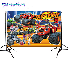 Blaze Truck theme Photo Backdrops Custom Children 1st Birthday Photography Background for Photo Studio Banner Photozone