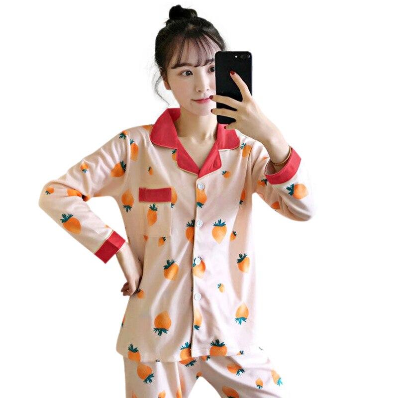 Autumn Women Sweet Cute Print air-conditioning Long Sleeved Pajama Set Cotton Top Pants Sleepwear