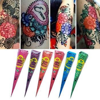 Red Green Orange Blue Henna Cones Indian Henna Tattoo Body Art Paint Sticker Mehndi Paste Tattoo For Temporary Body O5K6