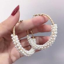 купить 2019 new Korean  pearl  bohemian big hoop  indian  earrings for women fashion jewelry  vintage earrings дешево