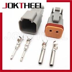 1/5/10/20 комплектов комплект серый DT06-2S DT04-2P Deutsch DT 2 контактный мужской женский автомобильный Электрический провод ботинка штепсельной вилки ...