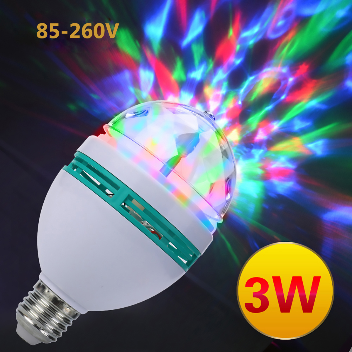 3W E27 RGB Lamp LED Bulb Light AC85-260V Colorful Auto Rotating RGB LED Bulb Stage Light Disco DJ Party Bar Decoration Lighting