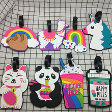 Новый Panda творческие багажную бирку лошадь мультфильм силикагель чемодан Владельец адрес багажа интернат портативный тег путешествия Аксессу