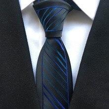 Уникальный тонкий галстук красивый мужской галстук черный с синей полосой узор Пейсли