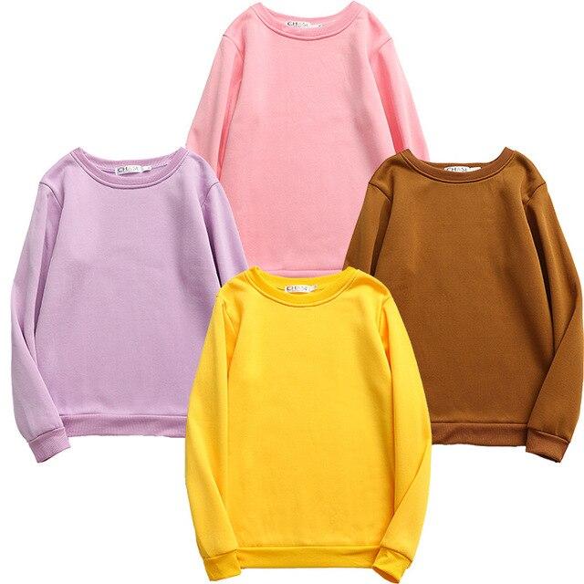 Women Solid Sweatshirts Korean Style Autumn Ladies Student Round Neck Long Sleeve Loose Pullover Tops WDC6301 2