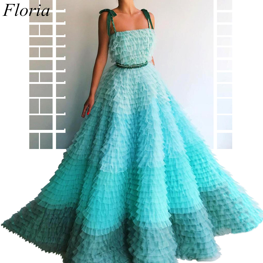 New Arrival Mint Green Prom Dresses Spaghetti Sexy Summer Beach Evening Dresses 2019 Tiered Celebrity Gowns With Sashes Pregnant
