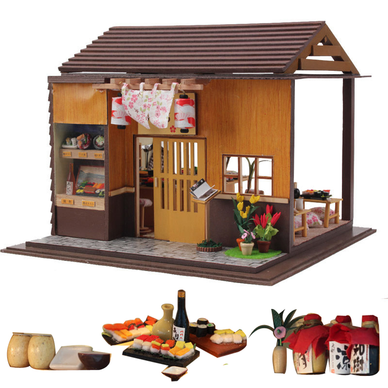 Large Doll House Furniture Japanese Sushi Restaurant  Kids Doll Houses Toys Wooden Miniature Dollhouse Diy Kast Kit Accessories