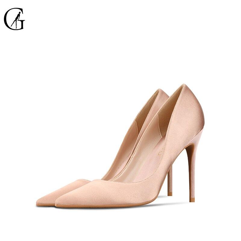 GOXEOU женские туфли-лодочки на высоком каблуке с Атлас телесного цвета черные туфли с острым носком на высоком тонком каблуке на возраст 6, 8, 10 ...