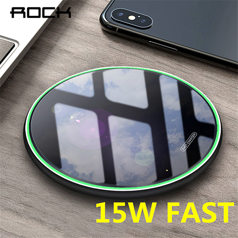ROCK 15W/10W Qi Wireless Charger USB Type-C Fast Charging Pad For IPhone Xs XR X 8 11 Samsung S10 S9 Xiaomi Mi 9