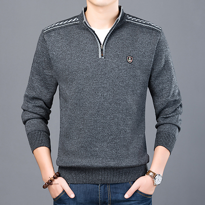 New Men Sweaters Long Sleeve Stand Collar Warm Zipper Sweater Men Casual Knitted Pullover Sweater Winter Coat Comfy Clothing