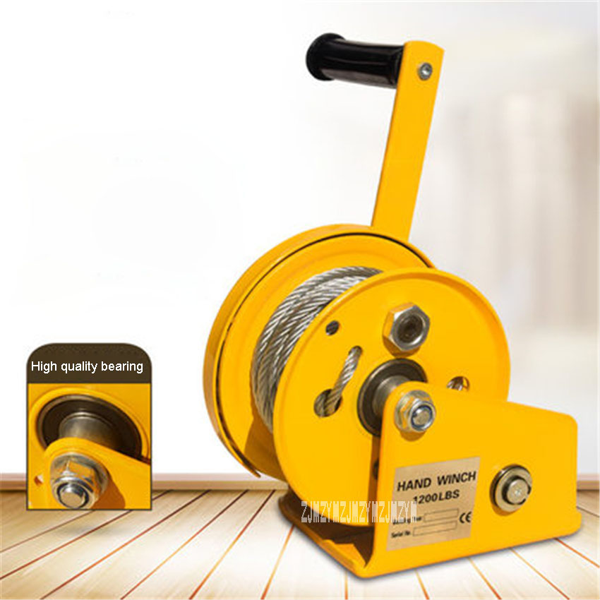 1200LB Self-locking Small Manual Winch Hand Shake Winch Hand Tool Manual Lifting Hoist 1200 Pounds 8 Meters Wire Rope With Hook
