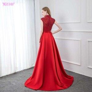 Image 2 - אופנה אדום גבוהה צווארון סאטן חרוזים שמלת ערב 2019 ארוך בת ים פורמליות ערב שמלות כובע שרוול YQLNNE