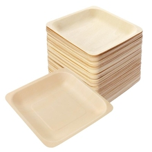Tableware Wooden-Plate Birthday Picnic Disposable for Wedding-Restaurant 140x140mm Square