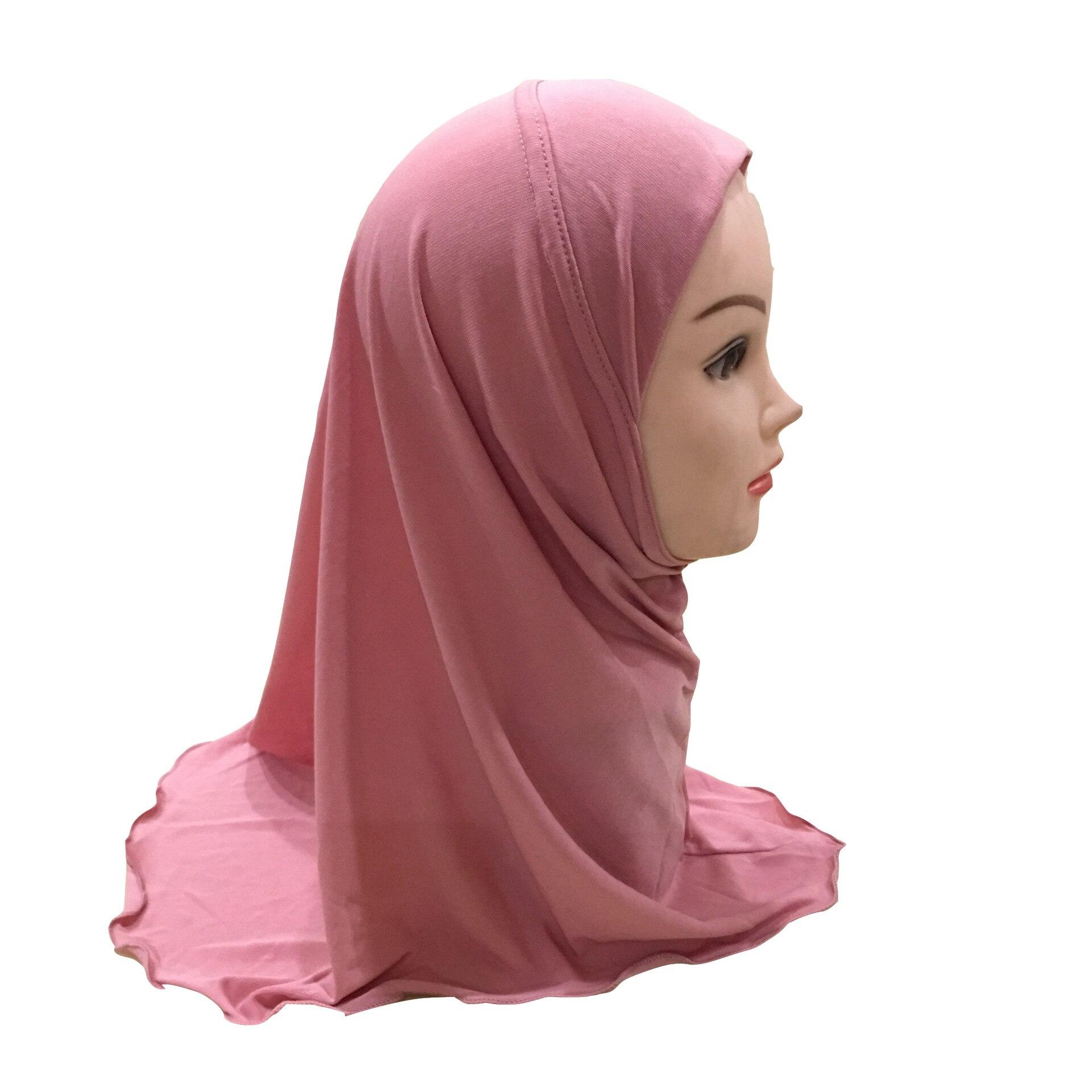 One-piece ECrystal Hemp Girls Amira Headscarf Muslim Instant Hijabs Plain Color Head Wrap For Kids 2-7 Years Old Ready To Wear