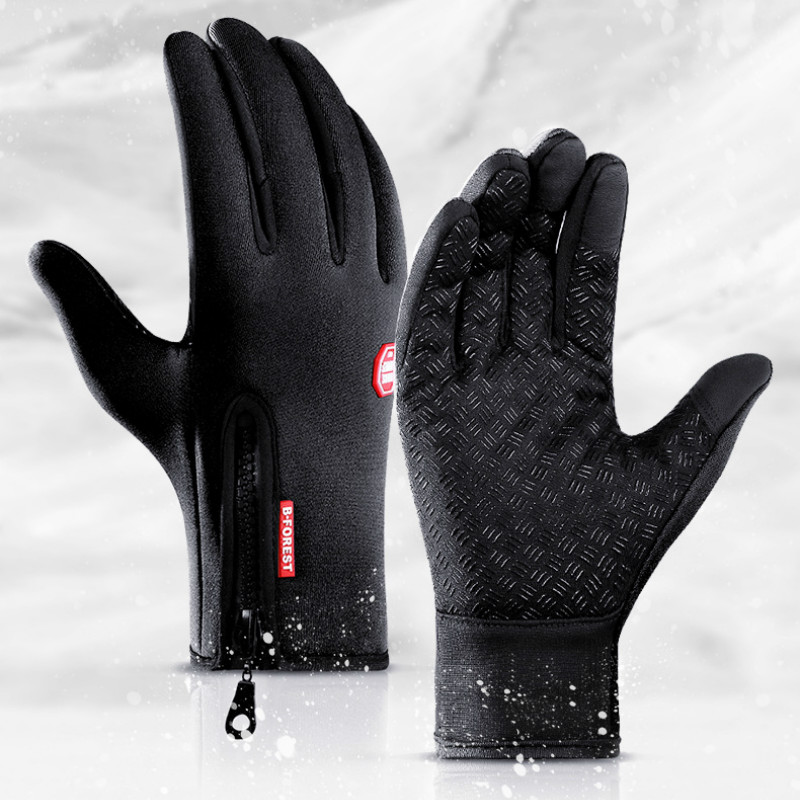 Spring Winter Waterproof Gloves Touch Screen Anti-Slip Zipper Gloves Men Women Riding Skiing Warm Fluff Comfortable Glove Unisex