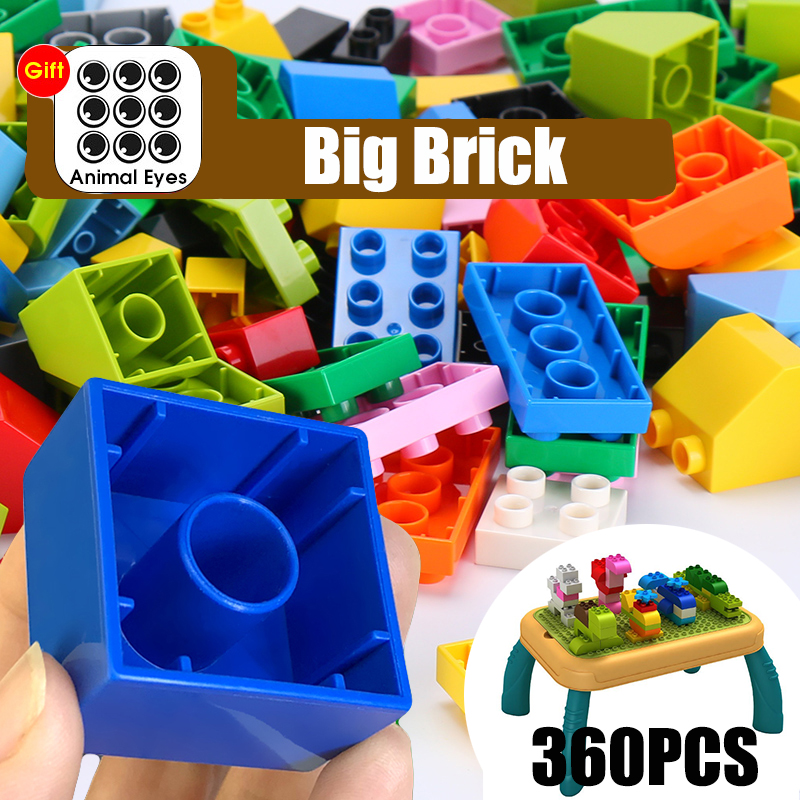 360Pcs Big Size Building Blocks Gift Sticker Colorful Bulk Bricks Figure Accessories Compatible With ED DuploED Kids Toys(China)