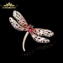 Elegant Baguette Cut Winged Pink Dragonfly Brooch Gold Tone Black Eyes Oval Body & Micro Pave CZ Dragonfly Pin for Women Fashion fabulous short tassel drops double yellow bird brooches silver tone micro pave cz green eyes two love birds pins for girlfriend