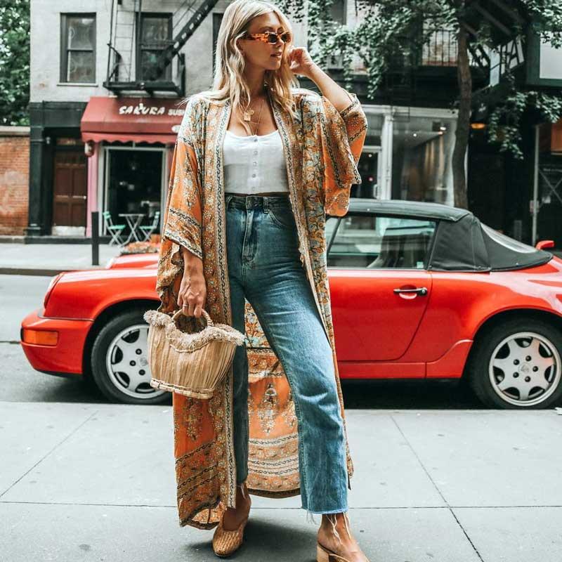 2018-women-s-Wrapped-boho-dress-floral-print-summer-dresses-V-neck-3-4-kimono-sleeve (2)