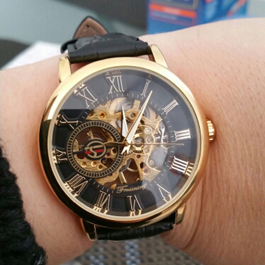 Image 4 - Forsining Men Watches Luxury Mechanical Skeleton Watch Black Golden 3D Literal Design Roman Number Black Dial Luminous ClockMechanical Watches   -