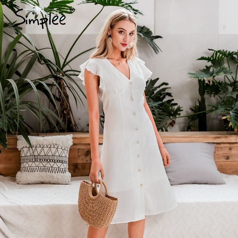 Simplee Sexy V-neck White Dress Ruffled Buttons High Wasit Women Maxi Dress Summer Work Wear Office Casual Holiday Dress 2020