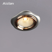 Aisilan New Design COB Anti Glare COB Silver Recessed Led Downlight Household Lighting Spot light CRI>93