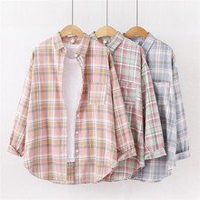 Cotton Long Shirt Fashion Plaid Turn-down Collar Full Sleeve Office Lady Autumn Women Blouse Plus Size Casual Blusas Student Top cotton long shirt fashion plaid turn down collar full sleeve office lady autumn women blouse plus size casual blusas student top