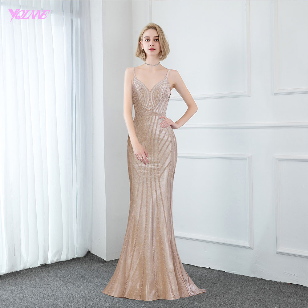 2020 New Arrival Glittering V Neck Evening Dresses Long Champagne Diamonds Mermaid Evening Gowns Sleeveless Formal Dress Women