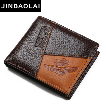 цена на Fashion Men's Wallets Leather Solid Luxury Wallet Men Cow Leather Slim Bifold Short Purses Credit Card Holder Male Coin Purses