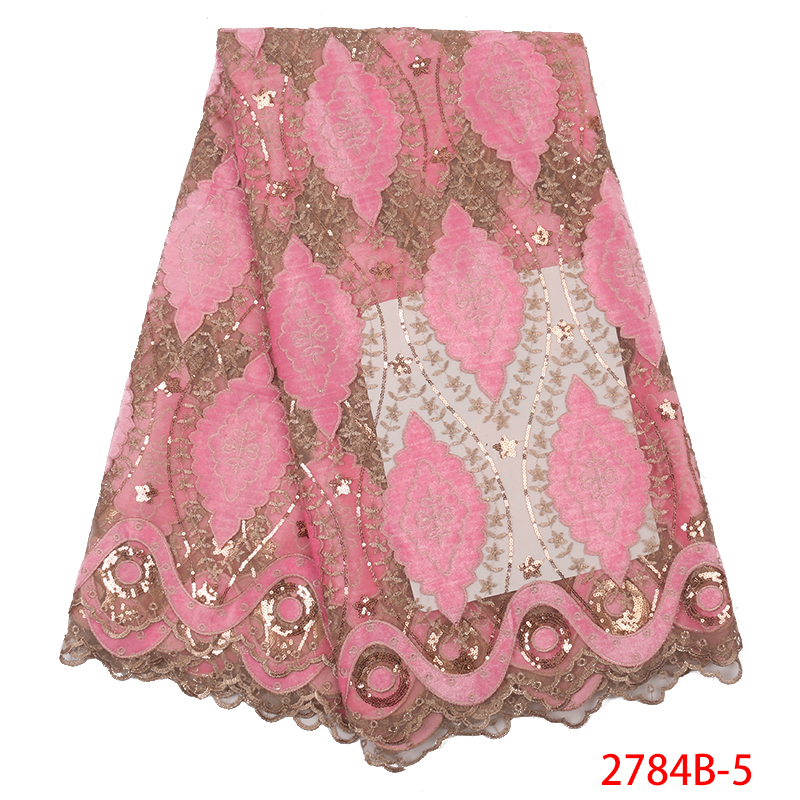 Baby Pink French Nigerian Laces Fabrics, High Quality Tulle African Lace Fabric,Embroidery Net Lace With Sequins KS2784B-5