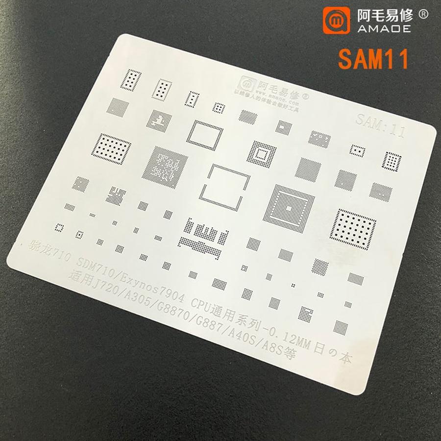 Amaoe BGA Reballing Stencil For Samsung J720 A505 G8870 G887 A40S A8S SDM710 Exynos7904 CPU BGA Reballing IC Tin Plant Net 1