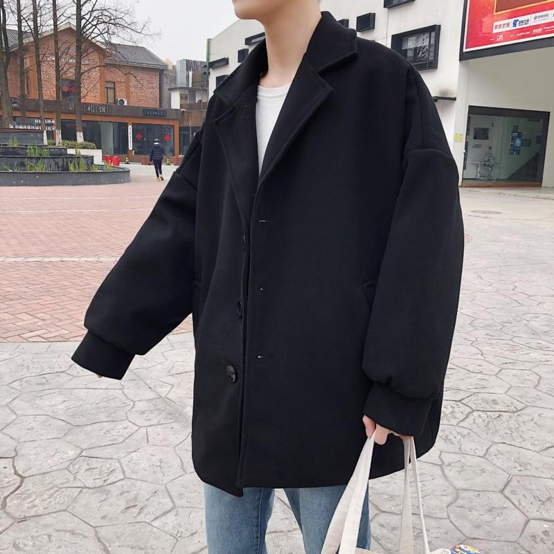 Winter Thick Short Short Woolen Coat Men's Fashion Solid Color Casual Woolen Jacket Men Street Loose Woolen Coat Male Overcoat