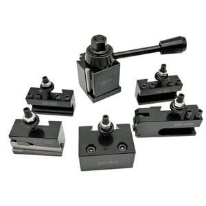 "6pcs 250 Steel Cuniform Type Quick Change Toolpost Tool Holder Set with 6-9"" Lathe Swing Collet Chuck(China)"