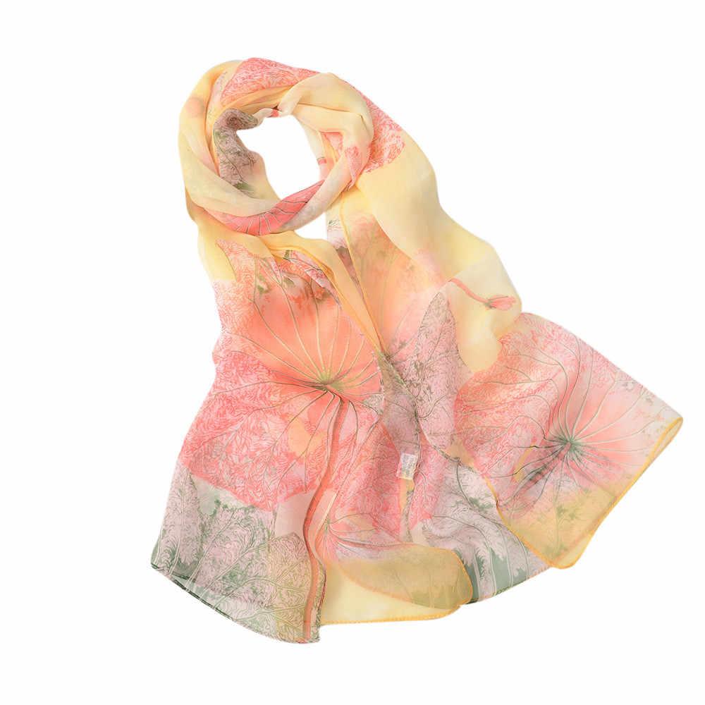 Moda feminina lotus impressão longo macio envoltório cachecol senhoras chiffon seda xale cachecóis senhora inverno quente cachecol echarpe hiver femme