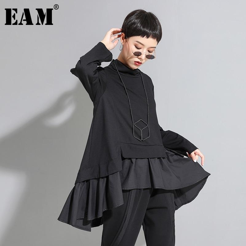 [EAM] Loose Fit Asymmetrical Ruffles Sweatshirt New High Collar Long Sleeve Women Big Size Fashion Tide Spring Autumn 2020 1A529
